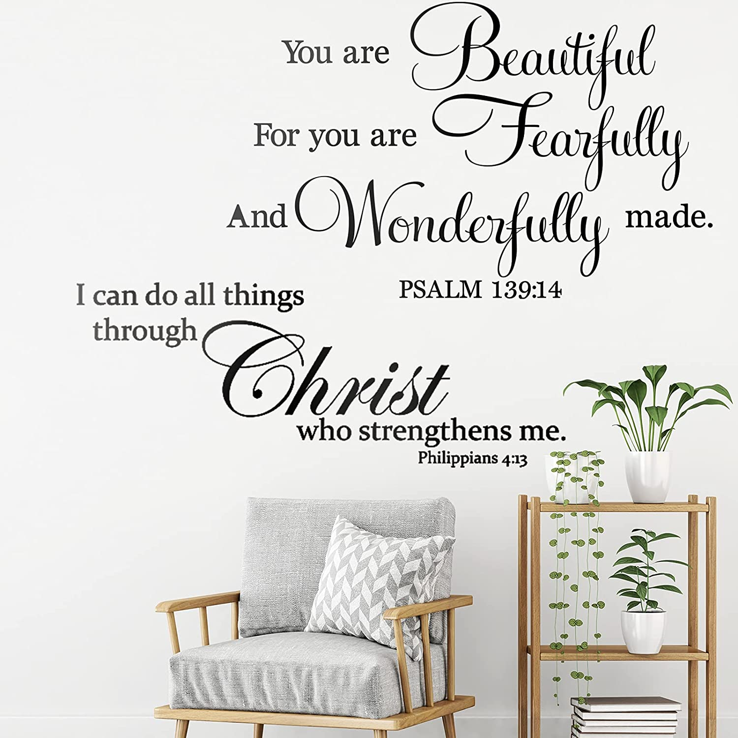 2 Pieces Vinyl Christian Quotes Wall Stickers Decal Beautiful Bible Verse Scripture Wall Stickers I Can Do All Thing Through Christ Who Strengthens Me Inspirational Quotes Wall for Home