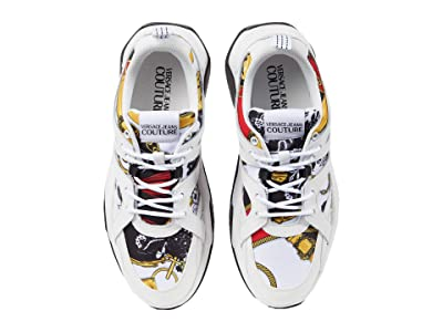 Versace Jeans Couture Scarf Print Low Top Sneaker (White/Red Multi) Men