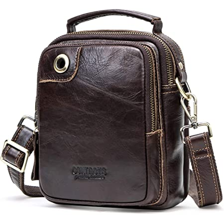 Contacts Mens Genuine Leather Crossbody Single-Shoulder 9 Mini iPad Messenger Tote Bag