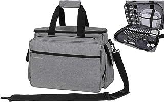 Crossroad - Mochila de picnic con accesorios para 4 personas, 35 L, color gris
