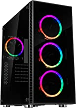 Rosewill ATX Mid Tower Gaming PC Computer Case 3 Sided Tempered Glass Dual Ring RGB LED Fans 360mm Water Cooling AIO Support Great Cable Management/Airflow - CULLINAN V500 RGB