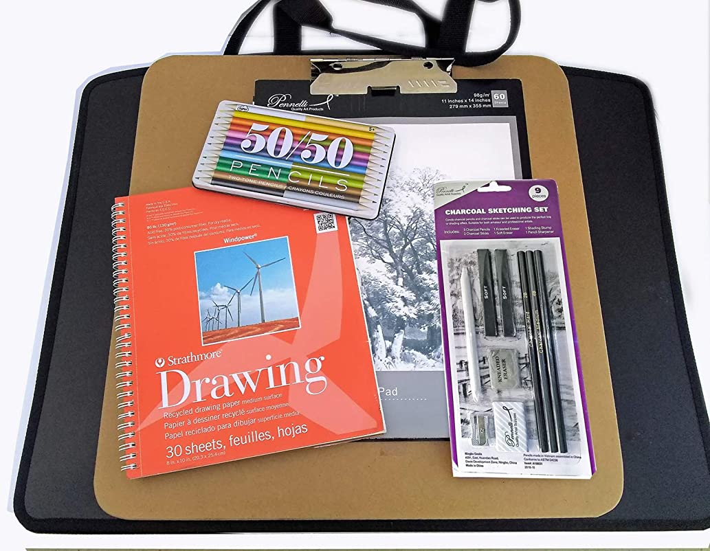 Artist Drawing Supplies Set w/Carry Board, Zipper Portfolio, Hardbound Sketchbook, Color Pencil Set, Graphite Pencil Set, Charcoal Drawing Set, Strathmore Pad, Large Sketch Pad, Instructions and More