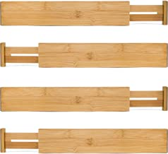 Bamboo Wooden Drawer Divider, Set of 4 | Adjustable Organizers | Natural Organic Bamboo | Expandable, Spring Loaded | Works in Kitchen, Dresser, Bathroom, Bedroom, Desk, Baby