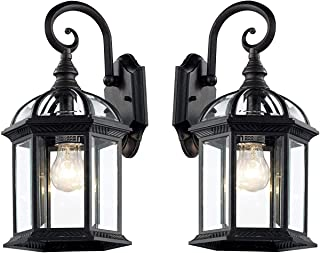 Wall Lanterns | Weather-Resistant Outdoor Lamps | Decorative Scroll Sconce Arm, Scalloped Edges & Clear Beveled Glass for Front Porch, Backyard & Gardens (Black- 2 Pack)