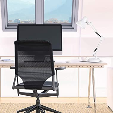 ZeroPlusOne® Swing Arm Desk Lamp, E27 Bulb Socket, Flexible Clamp on Table Lamps, White Painted Classical Bedside Lamp for Re