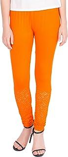 American-Elm Women's Ankle length Designer Lace Legging- Orange