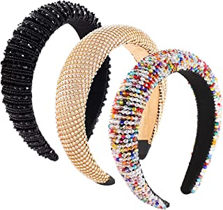 ANGLESJELL 3PCS Padded Rhinestone Headband for Women Baroque Crystal Embellished Hairbands Bejewelled Headbands Wide Velve...