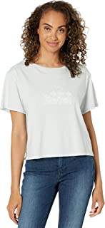 Lucky Brand womens Short Sleeve Crew Neck Embroidered Mis Floral Crop Tee T-Shirt