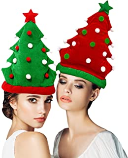 2 Pack Plush Christmas Tree Hats Santa Hats Christmas Tree Ball Cap Xmas Ugly Sweater Theme Novelty Hats Funny Party Hats for Adults Christmas Decorations (green + Red)