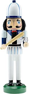 Clever Creations Wooden Baseball Player Nutcracker | Blue and White Uniform Holding Ball and Bat | Festive Traditional Christmas Decor | Great for Any Holiday Collection | 10