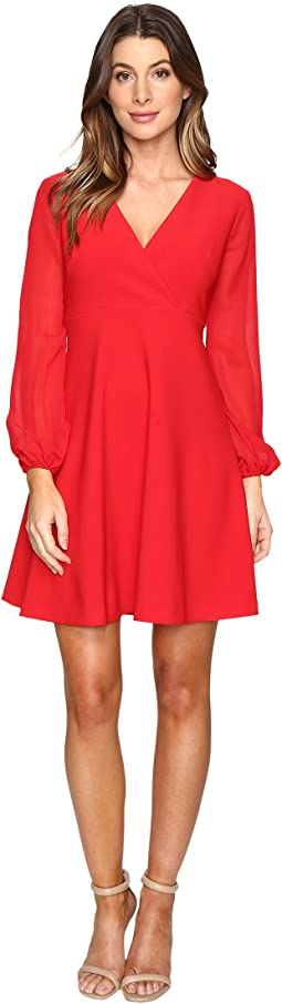Stretch Crepe w/ Chiffon Sleeve Dress