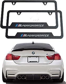 Sparkle-um 2pcs M Logo License Plate Aluminium Alloy Frame with Carbon Fiber Textured Glossy Finish Logo for BMW(M Performance