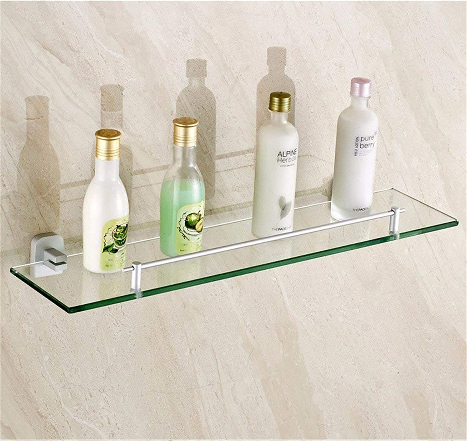 The Contemporary Space, Sleeve Aluminum Accessories of Bathroom Double and Single Pole Glass Hairdressing,Rack 1