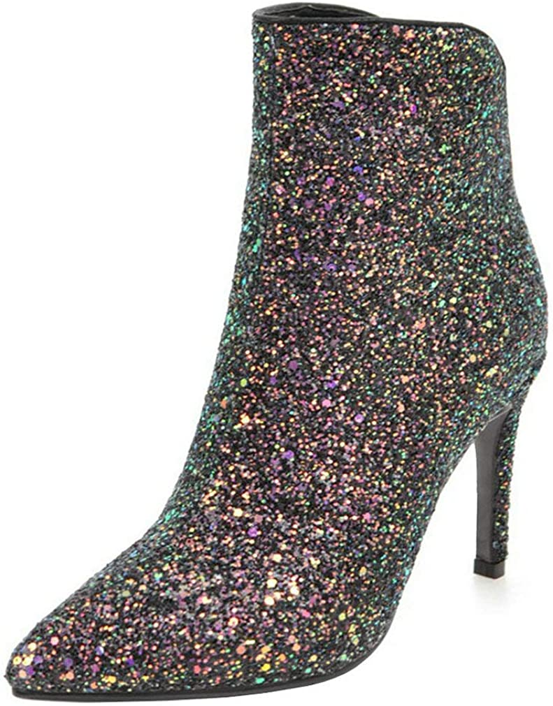 LUXMAX Womens Glitter Kitten Heel Pointed Toe New color Ankle Sale Zipper Boots
