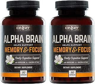ONNIT Alpha Brain - Over 1 Million Bottles Sold - Nootropic Brain Booster Supplement - Promotes Focus, Concentration & Memory - Alpha GPC, L Theanine, Bacopa Monnieri & Huperzia Serrata (180 Capsules)