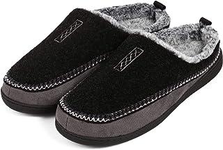 Men Slippers Wool Fleece Memory Foam Cozy Fuzzy Slippers Men House Shoes Indoor/Outdoor