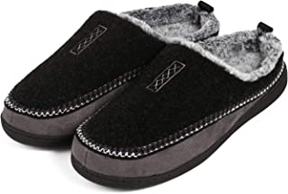 Men Slippers Wool Fleece Memory Foam Cozy Fuzzy Slippers Men House Shoes Indoor/Outdoor
