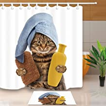 ChuaMi Cat Shower Curtain Set Cute and Funny Pets Cartoon Animals that Kids Like Bathroom Accessories Decor Polyester Fabr...