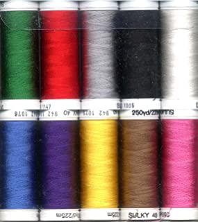 Sulky Of America Top 10 Rayon Thread Set, 250 yd, Assorted