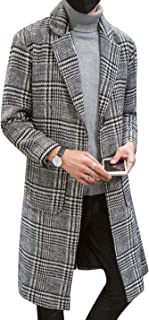 Uaneo Men's Casual Notch Lapel Single Breasted Plaid Mid Long Trench Pea Coat