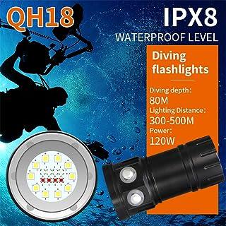BOLLAER Linterna de Buceo bajo el Agua Linterna de luz Impermeable para Deportes al Aire Libre Sumergible 100 m 18000 LM Linterna de Buceo 7 Bombillas LED