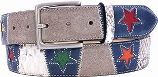ESPERANTO Cintura in Pitone e Pelle Bovina soggetto Stelle - Altezza 4 cm