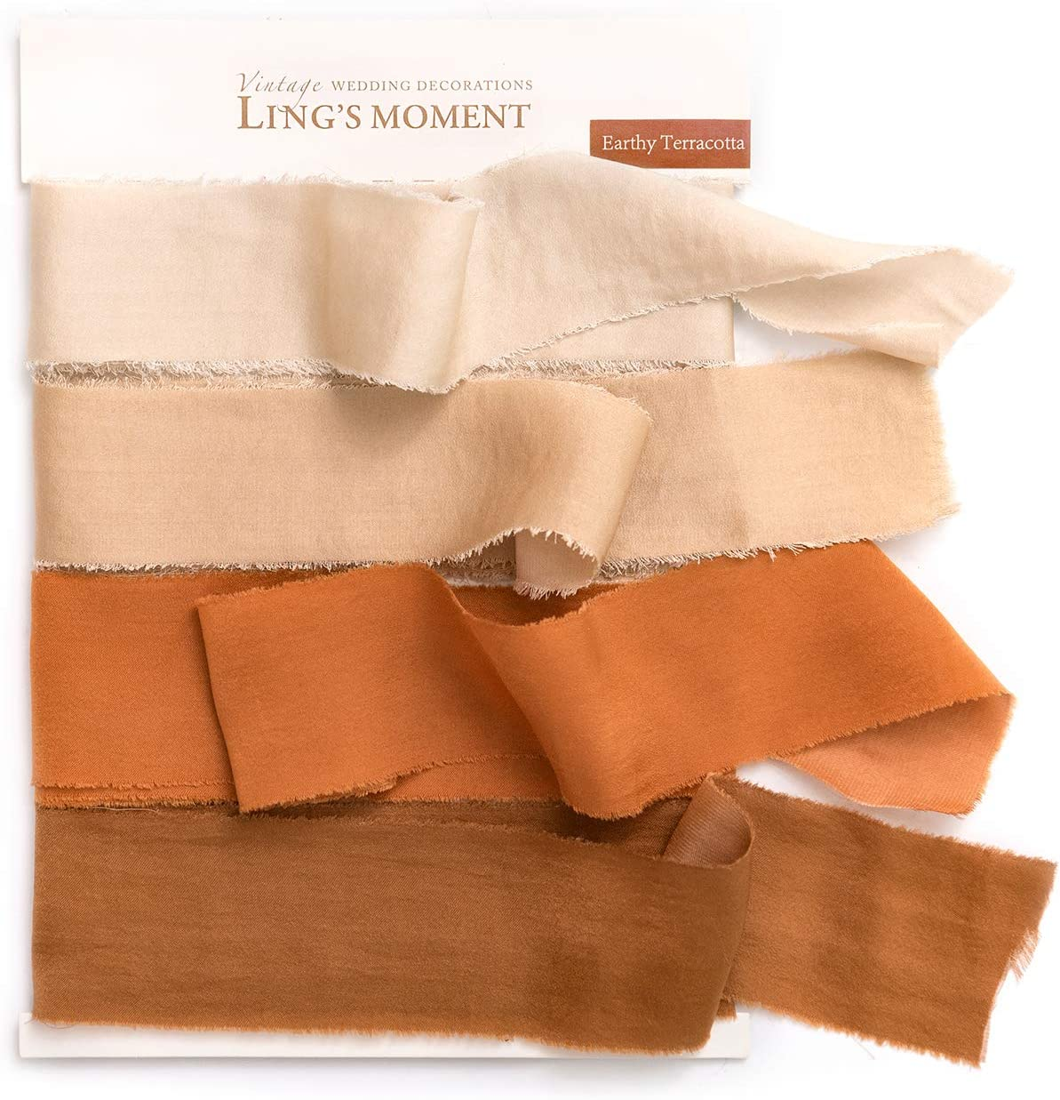 Ling's moment Handmade Fringe Chiffon Silk-Like Ribbon Smooth Ribbon Ombre Colors Chart, Cozy Terracotta : Everything Else