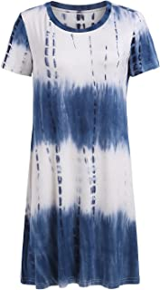 Loose Casual Short Sleeve Tie Dye Ombre Swing T-Shirt Tunic Dress