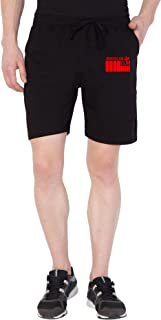 American-Elm Men's Black Cotton Slim Fit Print Stylish Short