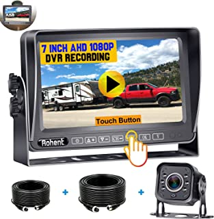 $129 » Rohent N04 AHD 1080P RV Backup Camera Kit 7 Inch Touch Key DVR Monitor Split Screen Highway Rear View Observation System f...