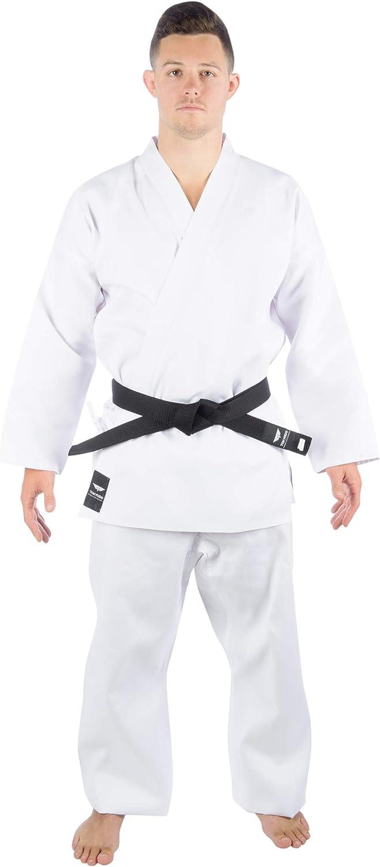 Comfortable Polyester /& Cotton Blend TOKYODO Karate Uniform Middleweight 8 oz for Kids /& Adults Student Gi Kimono Jacket /& Free White Belt 3pc Gi Set Includes Pants