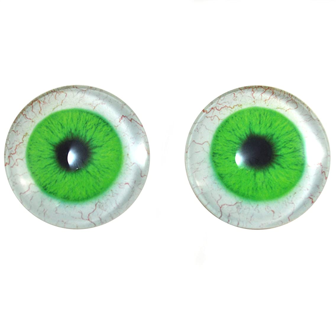40mm Pair of Bright Green Human Glass Eyes, for Jewelry Making, Dolls, Sculptures, More