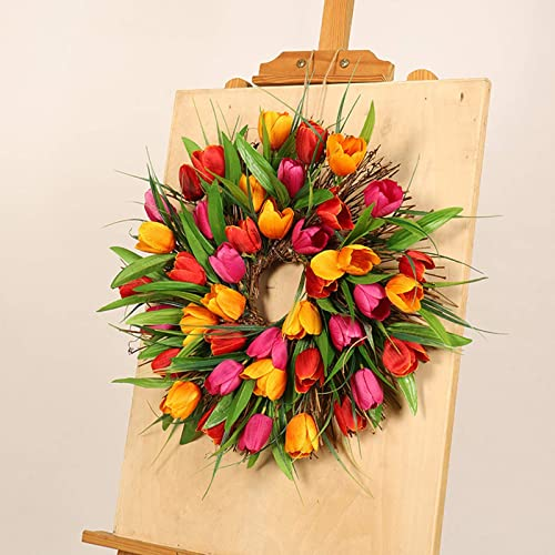 new arrival 16 in Front Door Wreath Artificial wholesale Tulip Flower sale Wreath Handmade Floral Wreath Spring Easter Garland for Door Wall Windows Wedding Party Office Home Christmas Valentines Day Decoration sale