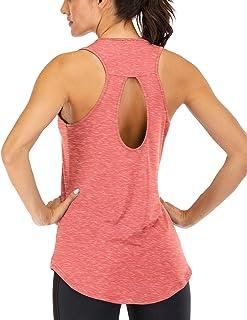 Fihapyli Women's Backless Tank Top Keyhole Workout Shirts Open Back Sports Tank Tops Flowy Workout Tanks