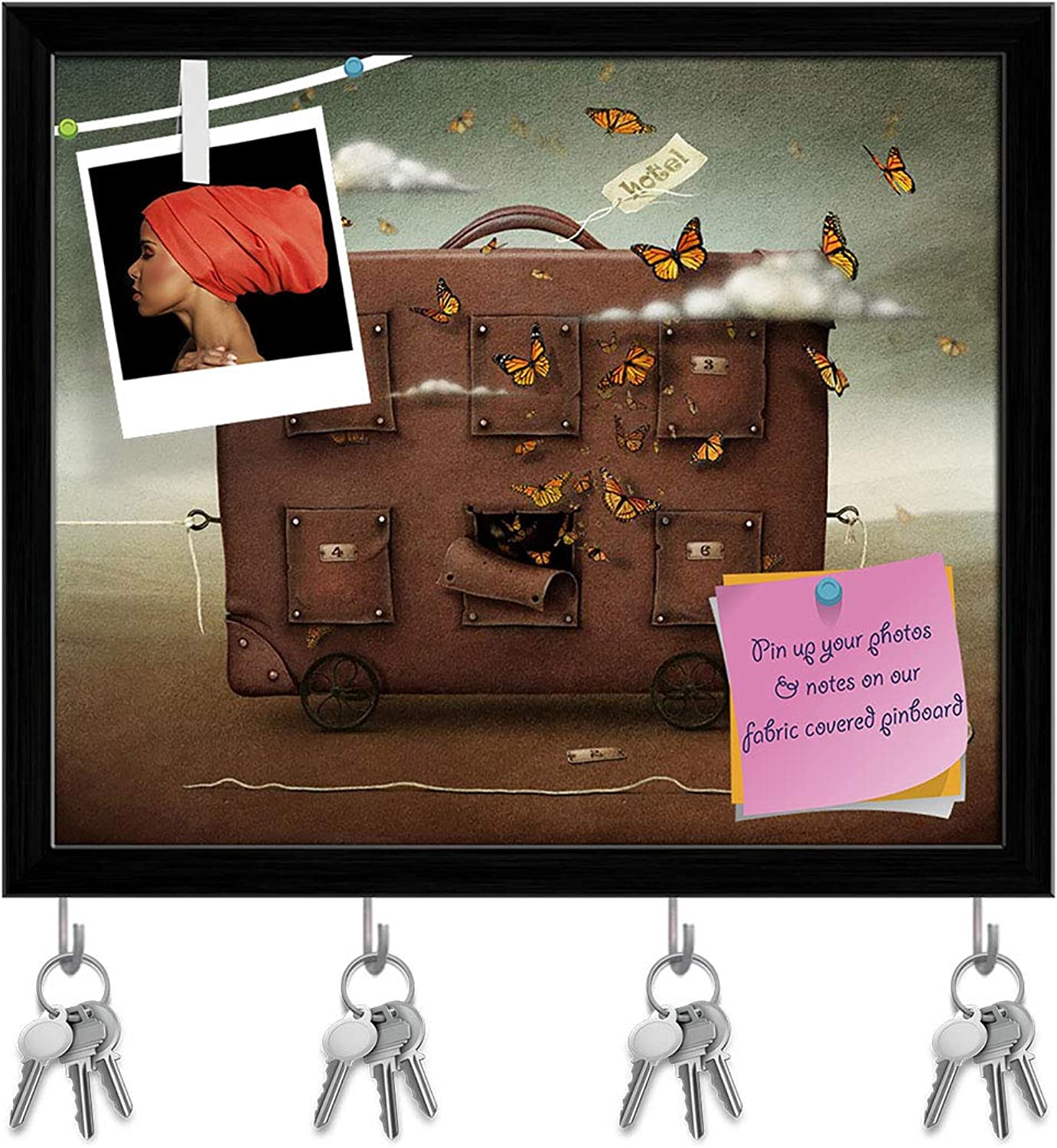 Artzfolio Wandering Suitcase Key Holder Hooks   Notice Pin Board   Black Frame 14.2 X 12Inch