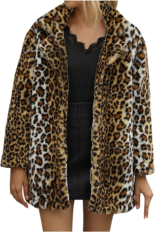 Misaky Women Leopard Faux Fur Coat Long Sleeve Open Front Parka Overcoat Winter Lapel Fluffy Jacket Cardigan