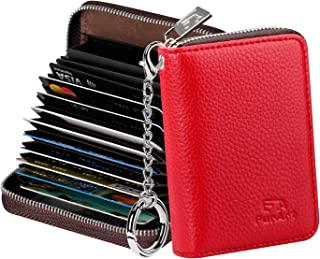 FurArt Porte Cartes de Crédit Cuir Fermeture Eclair, Blocage RFID Portefeuille avec Porte-clés Les Femmes Homm
