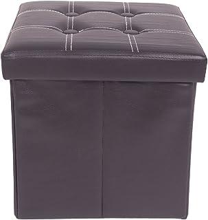 Rebecca Mobili Puff Cubo negro, taburete reposapiés, asiento para sala de estar, imitación cuero- Medidas: 30 x 30 x 30 cm...