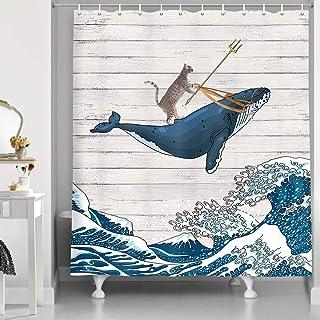 """پرده دوش خنده دار گربه ای HNMQ ، نهنگ گربه سوار در موج اقیانوس روی پرده های حمام چوبی پرنعمت ، پارچه دوش هنری پارچه دوش موج ژاپنی پارچه ای Kanagawa پارچه ای (69 """"W در 70"""" L)"""
