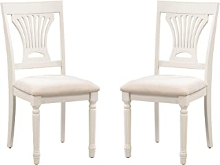 Trithi Furniture Portland Wood Ivory White Kitchen & Dining Chairs with Upholstered Seat, Set of 2