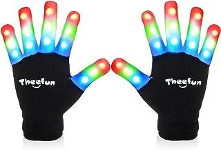 دستکش LED Theefun با 4 باتری اضافی برای کودکان و نوجوانان ، انگشتان دست روشن ، دستکش های مهمانی ، لباس های براق ، اسباب بازی های براق برای دختران و پسران ، متوسط