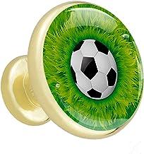 4 Stuks Meubels Knoppen Glam Laden Knop Metalen Garderobe Handvat Voetbal Groene Gras Knoppen Beste Gift voor Meisje 32mm
