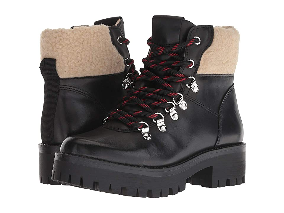 Steve Madden Broadway Hiker Boot (Black Leather) Women