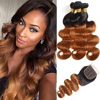 Feelgrace Hair Brazilian Body Wave Hair Virgin Human Hair 3 Bundles with Closure 1B/30 Ombre Color 100% Unprocessed Body Wave with Lace Closure (12 14 16 with Closure 10 Inches)