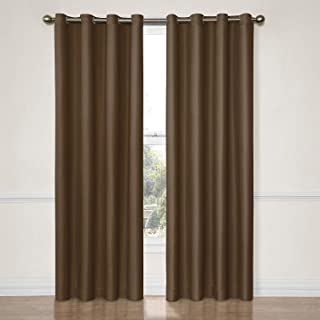 """Eclipse Dane Thermal Insulated Single Panel Grommet Top Darkening Curtains for Living Room, 52"""" x 95"""", Chocolate"""