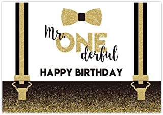 Allenjoy 7x5ft Mr Onederful Theme Backdrop for Boys 1st Birthday Party Supplies Golden Glitter Sparkle Background Little Prince Cake Smash Decorations Studio Photography Props Favors