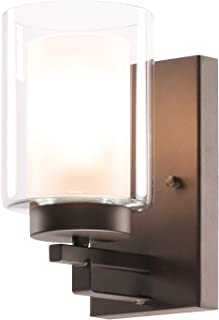 Wall Light 1 Light Bathroom Vanity Lighting with Dual Glass Shade in Dark Bronze Indoor Wall Mount Light XiNBEi-Lighting XB-W1195-1-DB