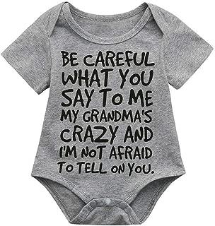 ALLAIBB Infant Baby Kids Girl Boy Letter Print Romper Jumpsuit Outfits Clothes