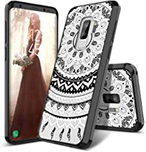 SmartLegend Galaxy S9 Plus Case, Girls Women Slim Anti-Slip Clear Hybrid Hard PC + TPU Bumper Mandala Floral Shockproof Full-Body Protective Phone Cover Compatible for Samsung Galaxy S9+ Plus- Black