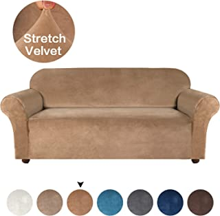 Turquoize Velvet Plush Strapless Sofa Cover Furniture Protector Velvet Couch Cover for 3 Cushion Couch Form Fit Slip Resistant Stylish Furniture Protector Machine Washable Sofa 3 Seater, Luggage